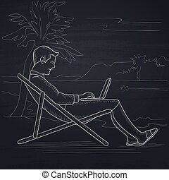 Businessman sitting in chaise lounge with laptop - A...