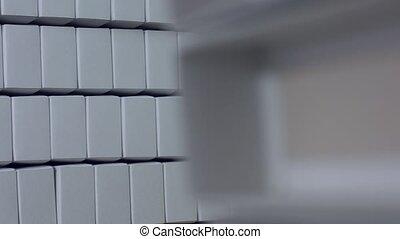 Plain white rectangular boxes. Stack of simple white boxes....