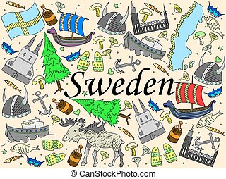 Sweden vector illustration - Vector line art Doodle set of...