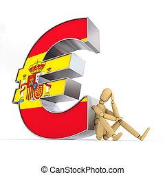 boneca, sentando, em, Espanhol, Euro, sinal