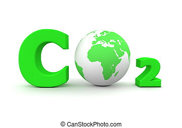 Global Carbon Dioxide CO2 - Green - chemical symbol CO2 for...