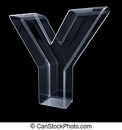 Transparent x-ray letter Y. 3D