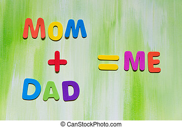 colorful letters, mom dad me