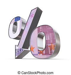 Shiny Percentage Down - 500 Euro Note Texture - shiny...