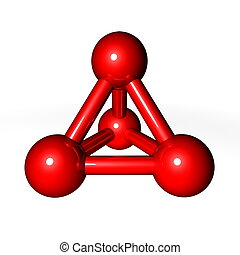 Molecule Structure Red - simple red metallic molecular...
