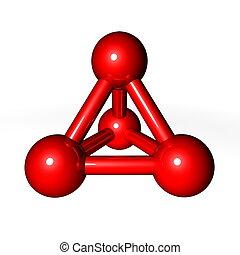molécula, estructura, rojo