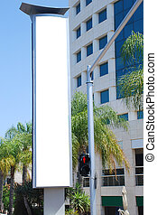 White blank Street Sign - A Blank white Sign on a pole with...