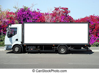 A Blank white Sign on a white truck - white truck with a...