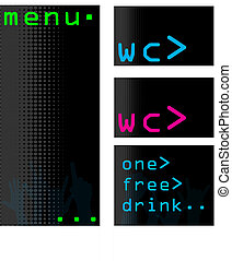 Computer themed bar menus and accessories