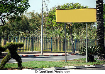 yellow blank Street Sign - A Blank yellow Sign with a copy...