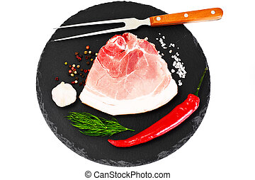 A Piece of Fresh Raw Pork, Meat Isolated on White Background