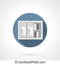Paper documents locker flat color vector icon