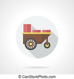 Snack trolley flat color round vector icon - Shop trailer...
