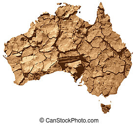 Australia drought - An illustration depicting Australia in...