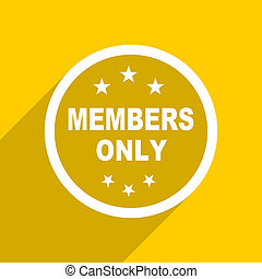 yellow flat design members only modern web icon for mobile...
