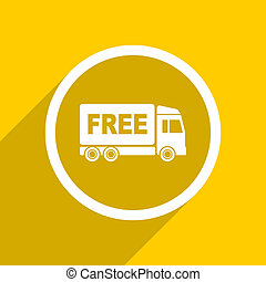 yellow flat design free delivery modern web icon for mobile...