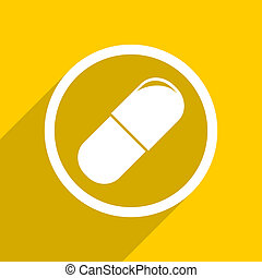 yellow flat design drugs modern web icon for mobile app and...