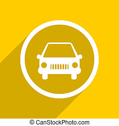 yellow flat design car modern web icon for mobile app and internet