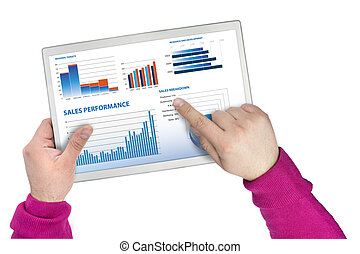 sales performance and business graphs on a touchscreen...