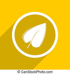 yellow flat design leaf modern web icon for mobile app and...