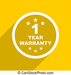 yellow flat design warranty guarantee 1 year modern web icon...