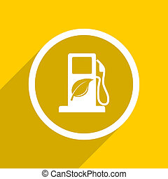 yellow flat design biofuel modern web icon for mobile app...