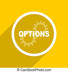 yellow flat design options modern web icon for mobile app...