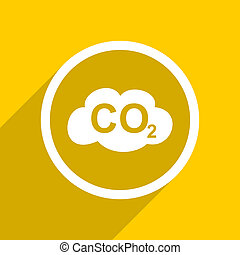 yellow flat design carbon dioxide modern web icon for mobile...