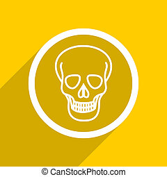 yellow flat design skull modern web icon for mobile app and internet