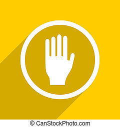 yellow flat design stop modern web icon for mobile app and...