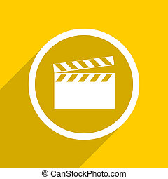yellow flat design video modern web icon for mobile app and...