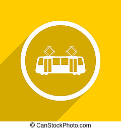 yellow flat design tram modern web icon for mobile app and internet