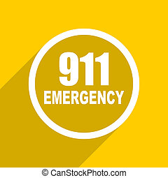 yellow flat design number emergency 911 modern web icon for mobile app and internet