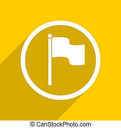 yellow flat design flag modern web icon for mobile app and...