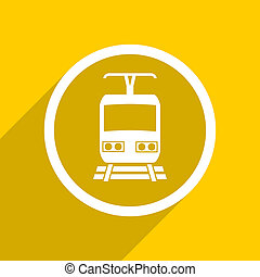 yellow flat design train modern web icon for mobile app and internet