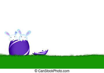 easter bunnys - easter card with bunnys and egg on field...