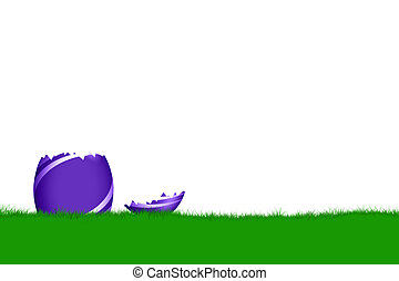 eastershell - easter card with egg and field of grass...