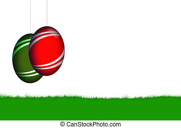 easter pendulum - easter eggs on white background with field...