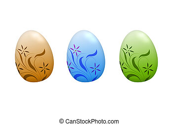 easter eggs - isolated easter eggs on white background