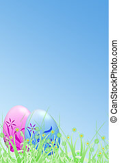 abstract easter card - easter eggs on abstract grass field