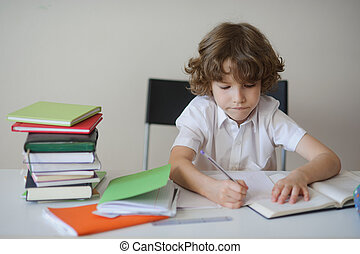 Boy diligently does his homework sitting at a school desk -...