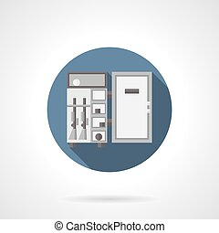 Gun safe flat color round vector icon - Open steel weapon...