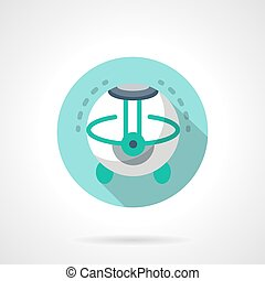 Home air humidifier flat color round vector icon - White...