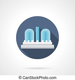 City fountain round flat color vector icon