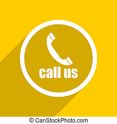 yellow flat design call us modern web icon for mobile app and internet
