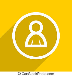 yellow flat design person modern web icon for mobile app and internet