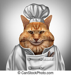 Cat Chef - Cat chef humorous concept as a fat feline wearing...