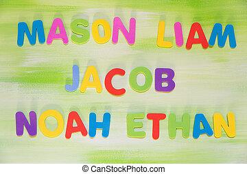 colorful letters, favorite boy´s names, mason, liam, jacob,...