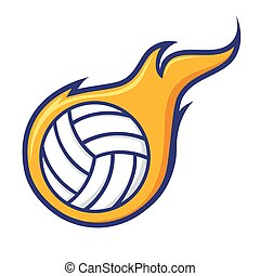 Volley Ball With Flames Icon Symbol-01.eps - Vector stock of...