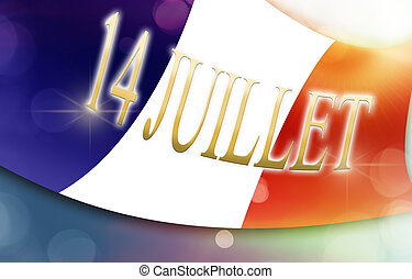 flag of france with french text, concept 14th july, bastille...